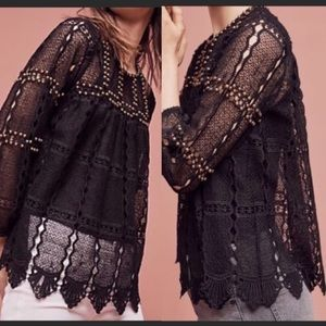 NWT Anthropologie Maeve Black Lace Studded Top